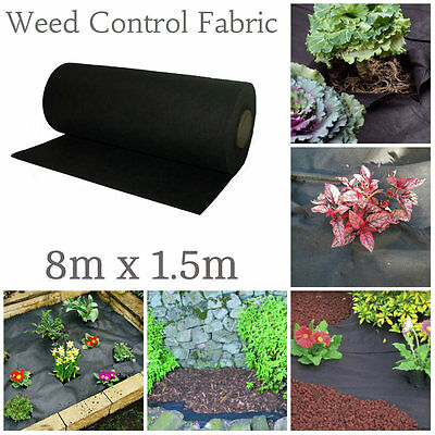 weed control membrane 8m x 1.5m sheet cover garden fabric decking paving 12m2