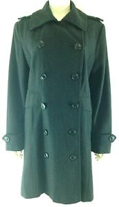 Giacca-Womens-Size-L-Peacoat-Black-Wool-Blend-Double-Breasted-Lined-Button-Front