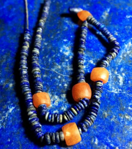 Wonderful Ancient Egyptian Hieshi Lapis Ancient Red Coral  Bead Necklace