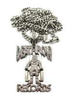 -iced Out Deathrow Records Piece With 36 Miami Link Chain