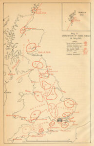 Details about UK Home Forces disposition 1st May 1940  World War 2   Operation Sealion 1957 map