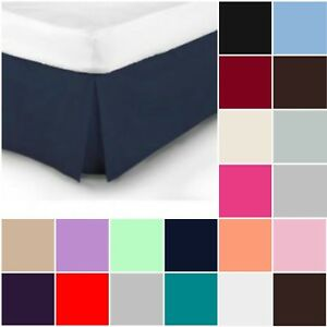 Plain-Dyed-Pleated-Base-Poly-Cotton-Valance-Sheets-Single-Double-King-S-King
