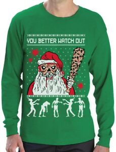 Zombie Christmas Sweater.Details About Ugly Christmas Sweater Zombie Walker Scarys And Dead Santa Long Sleeve T Shirt
