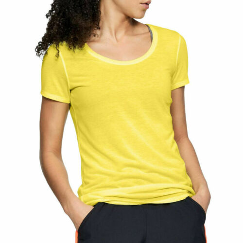 Under Armour Threadborne Run HeatGear Yellow Ladies Sports Gym Tshirt M