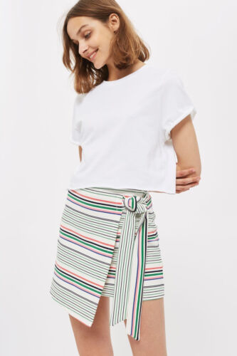 TOPSHOP Stripe Wrap Skirt with Tie Detail