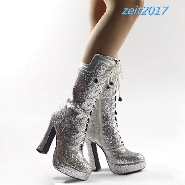 Damen Schnürstiefeletten Gold Silber Sexy plateau Wadenhoch Nachtclub Stiefel 43