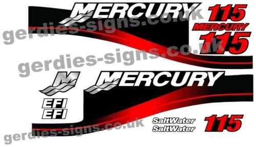 Rouge Mercury 115 Moteur Hors Bord Imprimé Autocollants Kit Moteur