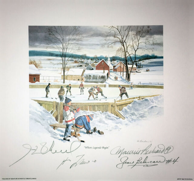 Signed Lafleur, H. Richard, Beliveau, M. Richard Lithograph - Montreal Canadiens