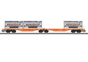 Maerklin-H0-47805-Doppel-Containertragwagen-Sggrss-034-giezendanner-034-NEU-OVP