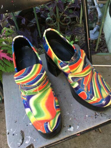 Vintage disco Halloween Rainbow Platform Shoes