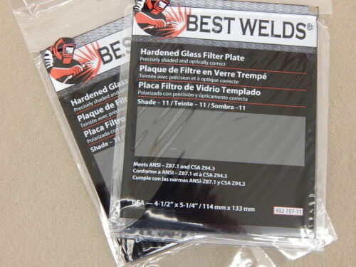 "2 BEST WELDS 4.5/"" x 5.25/"" HARDENED GLASS FILTER PLATES SHADE 11 4-1//2/"" x 5-1//4/"""