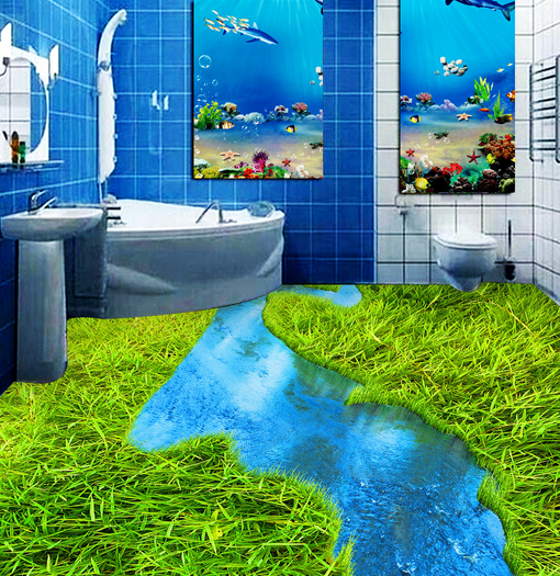 3D Gras Fluss 4 Fototapeten Wandbild Fototapete Tapete Familie DE Lemon
