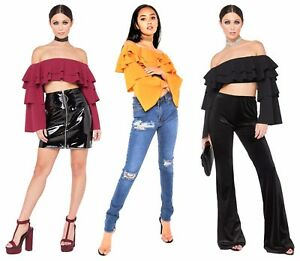 Womens Off Shoulder Crop Top Frill Layered Flared Bell Long Sleeves Bardot Party