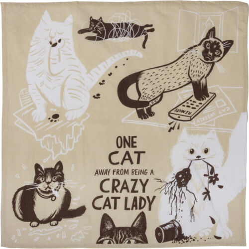 Details about  /Primitives by Kathy Cotton Dish Towel One Cat Away From Being a Crazy Cat Lady