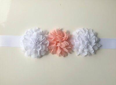 Floreale Fiore Ragazza Cintura/telaio, Bianco E Corallo/pesca O Scegli I Colori-mostra Il Titolo Originale