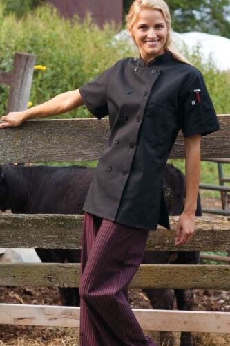 Black Uncommon Threads Women/'s Chef coat Short Sleeve 0478 Sizes XS to 2XL