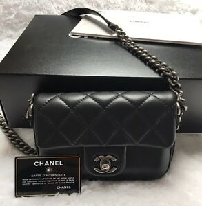 Image Is Loading Chanel Rock My Shoulder Flap Bag Black Calfskin