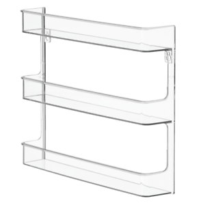 InterDesign Clarity Wall Mount Nail Polish Storage Rack with 3 Shelves for Clear