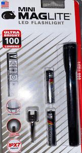 New-Mini-Maglite-SP32116-2-Cell-aaa-LED-Flashlight-Blue-100-Lumems-black