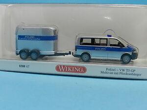 WIKING-030807-VW-T5-MIT-PFERDEANHANGER-POLIZEI-1-87