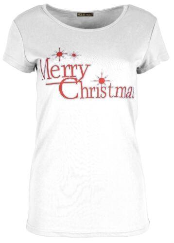 New Ladies Reindeer Bells Christmas Candy Stick T-Shirt Tops 8-22