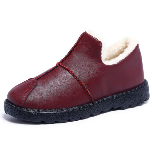 Women Winter Warm Slippers PU Leather Flats Loafers Thicken Plush Shoes Slipper