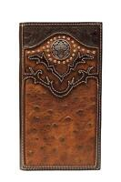Nocona Western Mens Wallet Rodeo Ostrich Diamond Concho Leather Brown N5464602