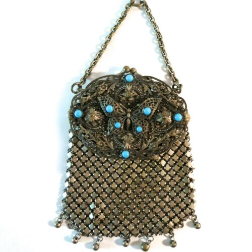 Vintage Chatelaine Purse Filigree Butterfly Turquo