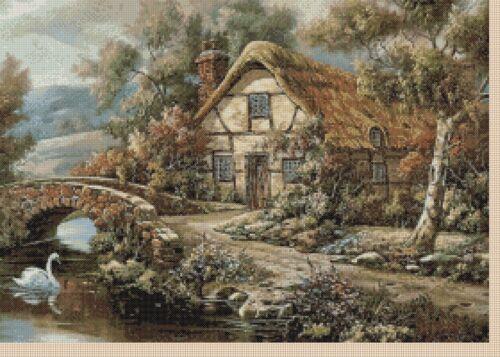 PDF seulement Stitch Chart-pays Swan Cottage No.. 409 TSG37