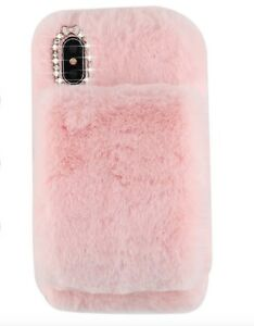 Pink Soft Warm Plush Fluffy Phone Case Cover Comfy Faux Fur Iphone Xs Max Ebay