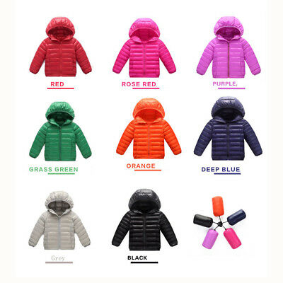 Kids Girls Down Winter Coat  Boys Warm Hooded Jacket Outerwear Clothes Size 3-14