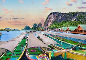 A1-Phuket-Island-Thailand-Poster-Art-Print-60-x-90cm-180gsm-Boats-Gift-16436