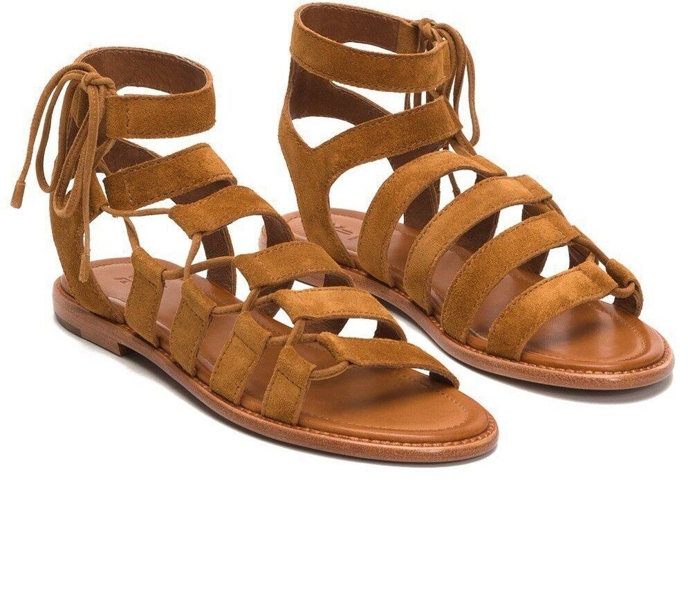 258 NEW FRYE Sz7.5US BLAIR SIDE GHILLIE WITH SIDE LACE SANDAL COGNAC SUEDE