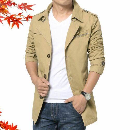 Men/'s Slim Fit Outwear Jacket Formal Coat Single Breasted Closure Cotton Clothes