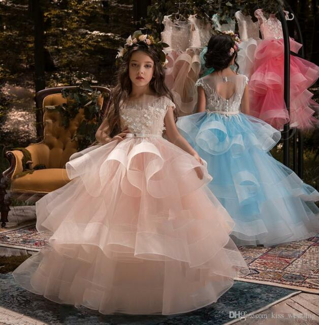 Flower Girl Princess Toddler Party Ball Gown Prom Wedding Pageant ...