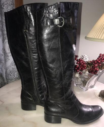 BORN CROWN Womens Black  Leather Knee High Tall Eq