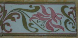 """Antique Art Nouveau 8"""" x 4"""" Accent Border Tile 1890s England Pink Flower Design"""