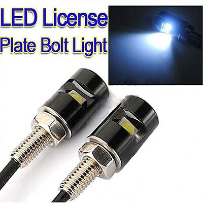 2 X White LED SMD Motorcycle Car License Plate Screw Bolt Light lamp bulb