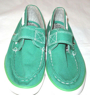 M & S BOYS GREEN CAVAS SHOES HOOK & LOOP FASTENING SIZE 13 NEW
