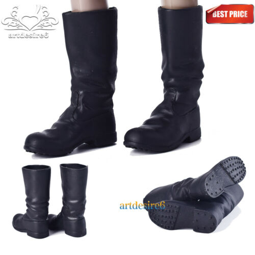 """1//6 Scale German Army Officer Black Combat Boots High Tube For 12/"""" Action Figure"""