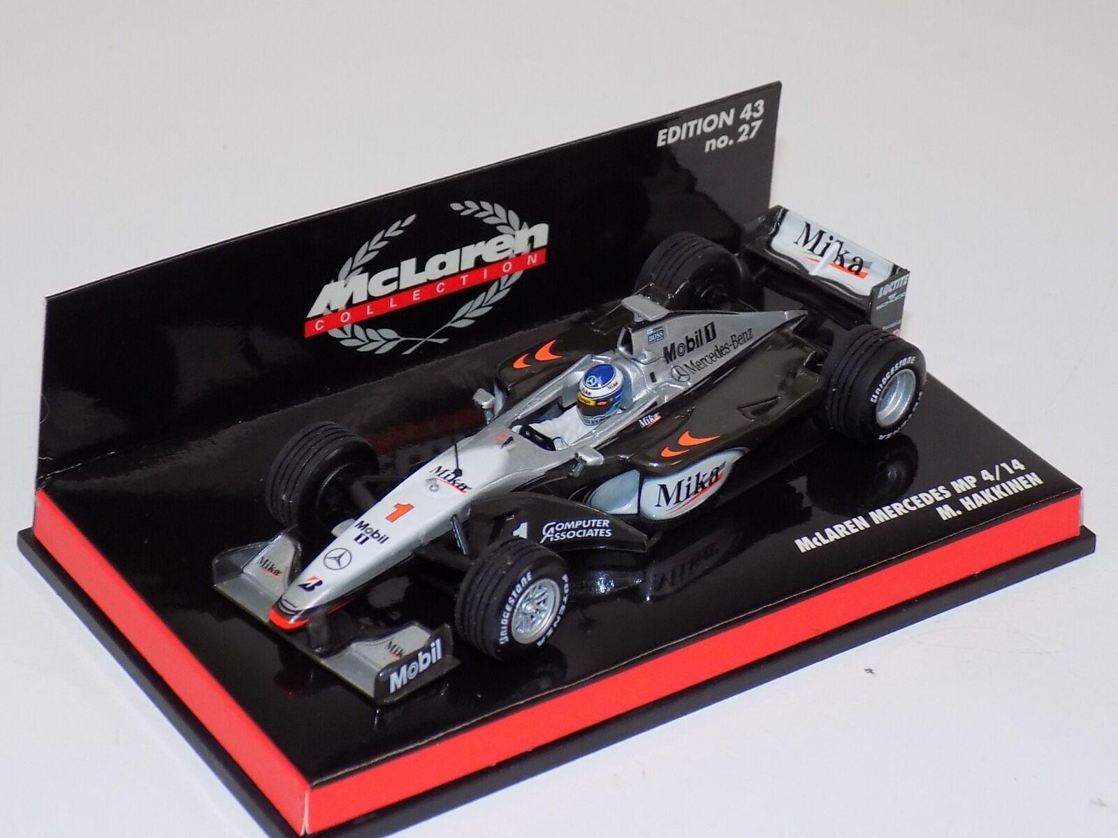 1 43 MINICHAMPS F1 Formule 1 McLaren Mercedes 1999 Pistolets mitrailleurs 4 14 M. Häkkinen