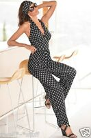 Boston Proper Oval Printed Jumpsuit Size 6 Black/white