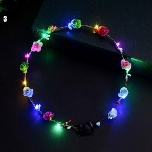 Xmas Party Glowing Wreath Flower Headband Girls LED Light Up Hairband Garlands