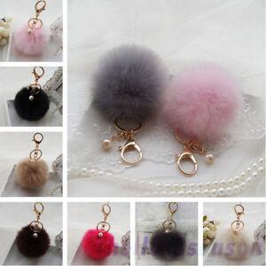 New Faux Rabbit Fur Ball Keychain Fluffy Key Chain Car Keyring Women ... f17b80ae7a905
