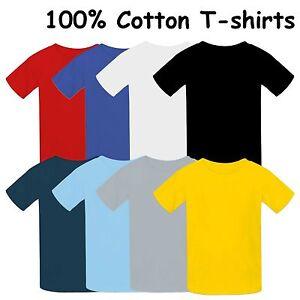 Los-ninos-de-alta-calidad-Camiseta-100-Algodon-Kids-Plain-Top-Chicos-Chicas-8-Colores
