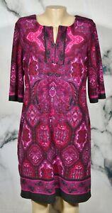 DRESSBARN SIGNATURE CAMRYN Black Multicolor Paisley Dress 14 Notch Neckline