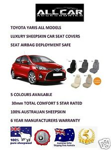 Sheepskin-Car-Seatcovers-for-a-Toyota-Yaris-5-colours-seat-Airbag-safe