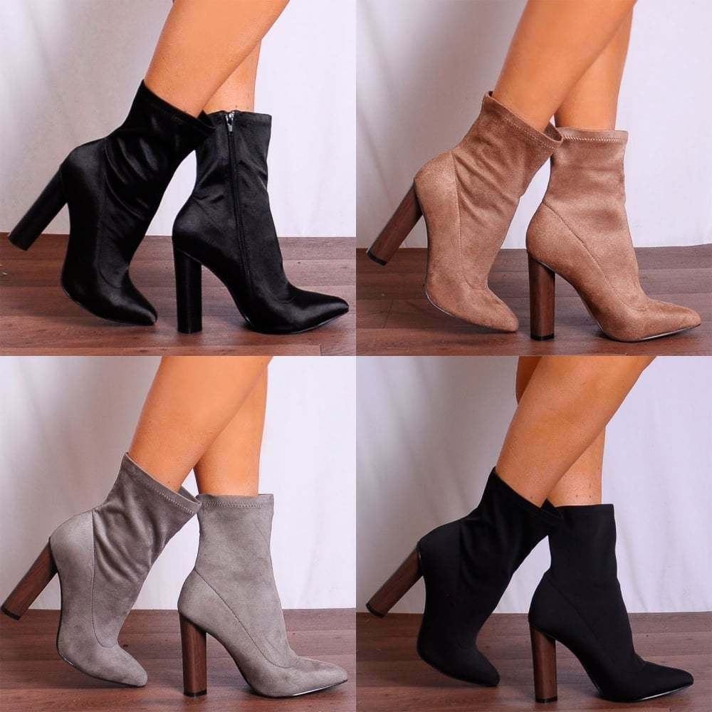 SATIN FAUX SUEDE SOCK PULL ON botas POINTED WOOD EFFECT ANKLE botas ON HIGH HEELS HEELED 7f8876