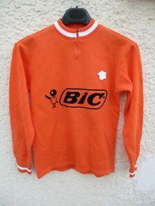 Sweat-maillot-cycliste-vintage-BIC-orange-shirt-jersey-trikot-70-039-s-camiseta-XS