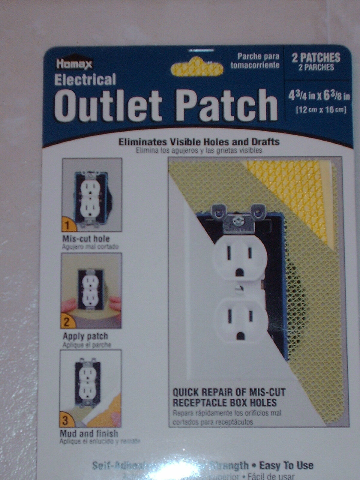 200 HOMAX Electrical Outlet Drywall Wall Patch Repair 4 3 4 x 6 3 8 WHOLESALE